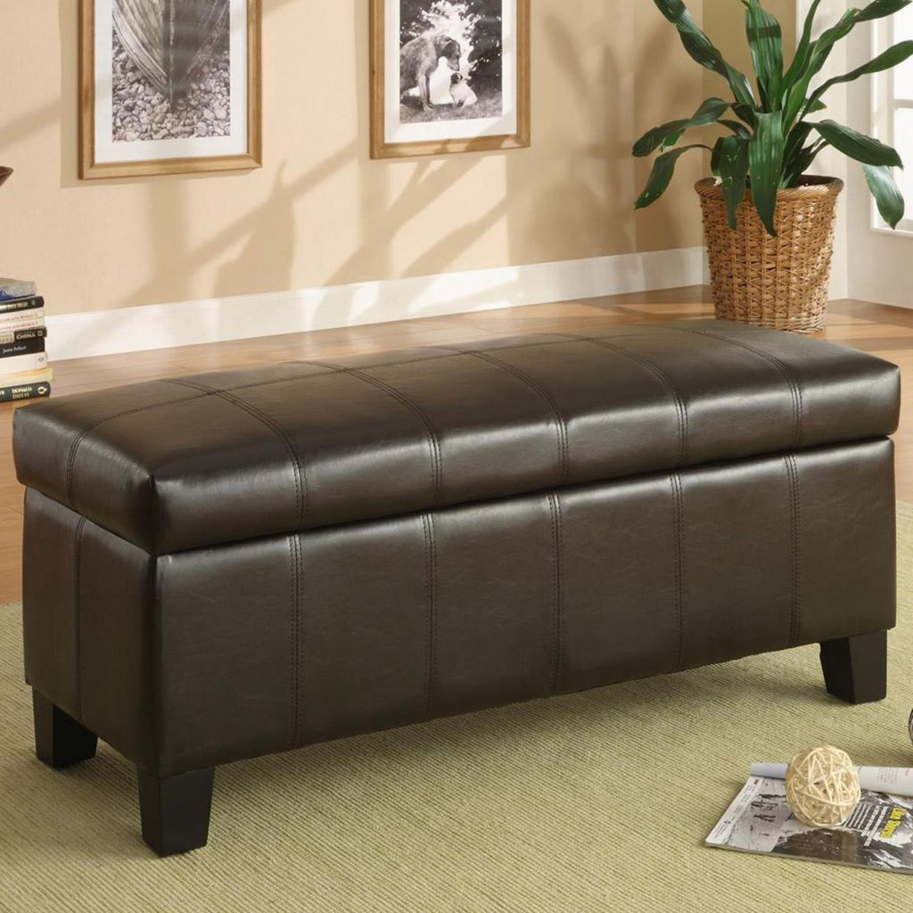 415-915 - FAUX LEATHER LIFT TOP STORAGE BENCH
