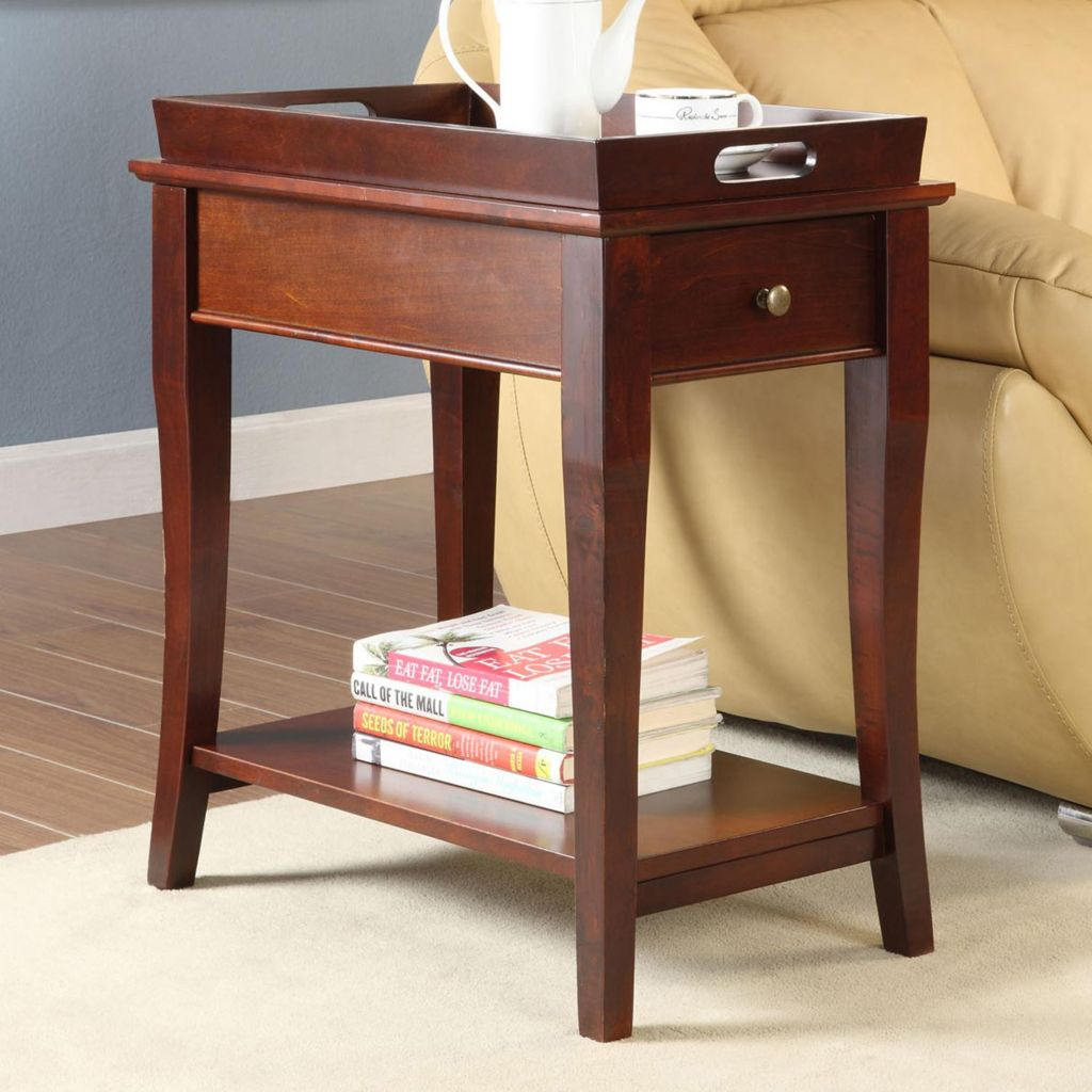 415-925 - HomeBasica Cherry-Finish Tray-Top End Table