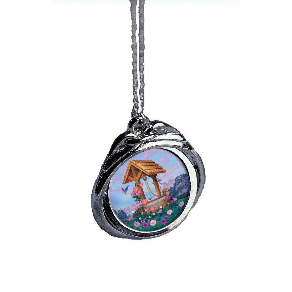 418-062 - Silver-tone Colorized Wishing Well JFK Half Dollar Spinning Bezel Pendant w/ Chain