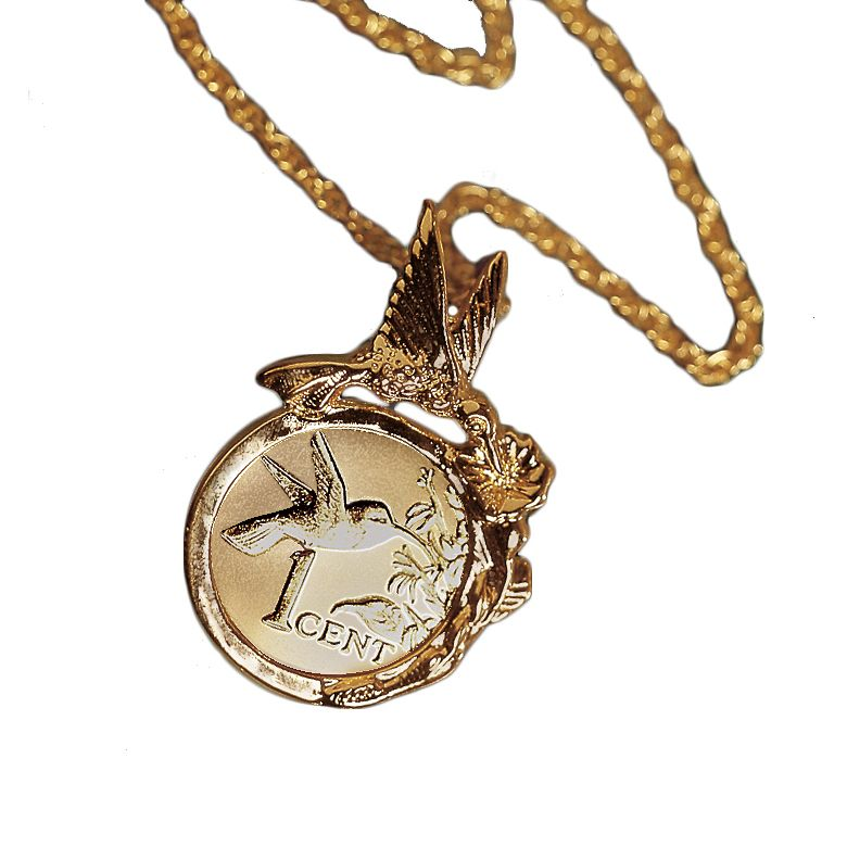 "418-118 - Hummingbird Coin Pendant w/ 24"" Chain"