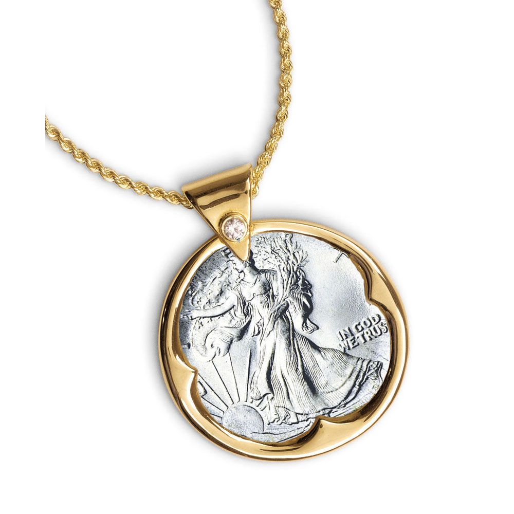 418-142 - Gold-tone Silver Walking Liberty Half Dollar Rhinestone Detail Pendant w/ Chain