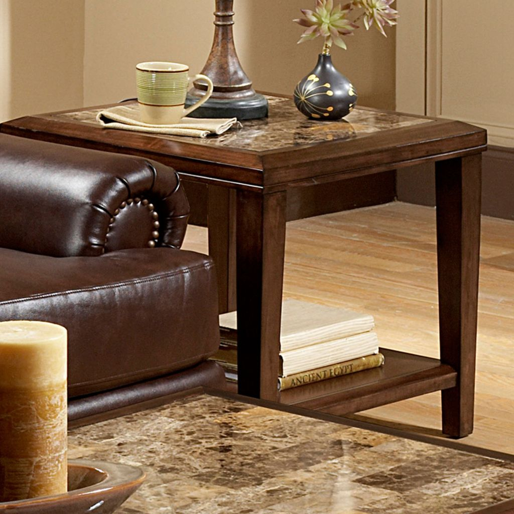 418-913 - Espresso Faux Marble Top End Table