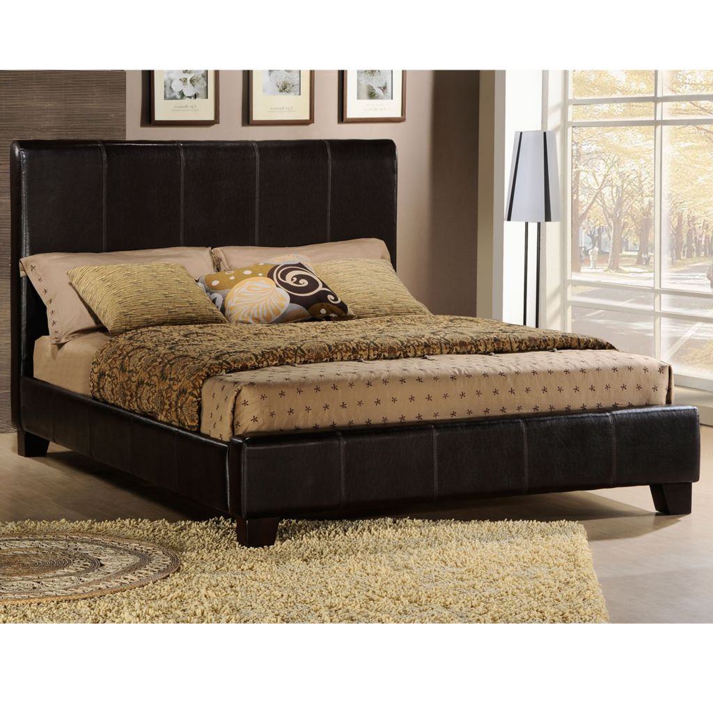 419-009 - DARK BROWN FAUX LEATHER FULL-SIZE BED