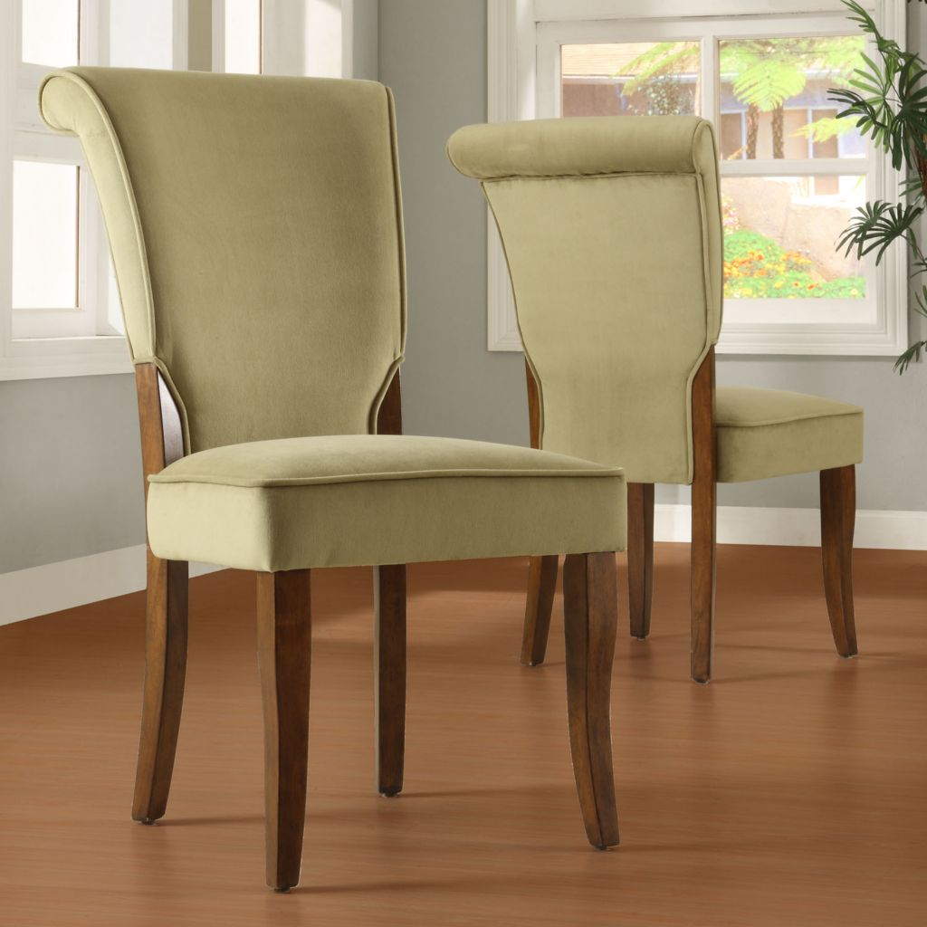 419-021 - Olive Green Velvet Upholstered Wood Set-of-Two Dining Chairs