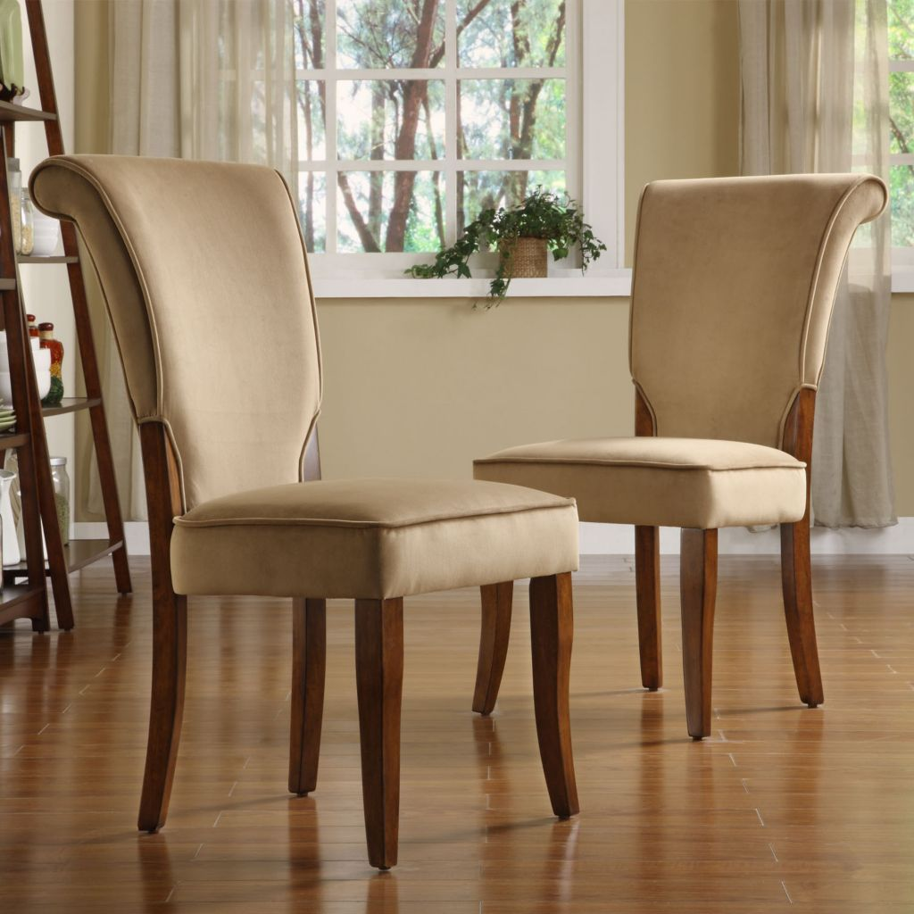419-022 - Peat Velvet Upholstered Wood Set-of-Two Dining Chairs
