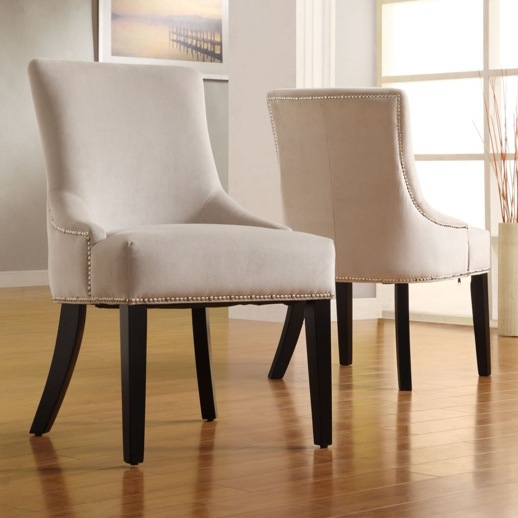 419-033 - Sandstone Velvet Ebony Finish Dining Chairs - Set of Two