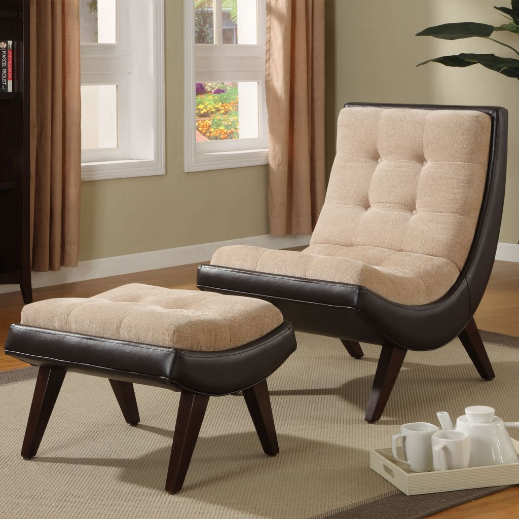 419-041 - Brown Velvet Faux Leather Chair & Ottoman