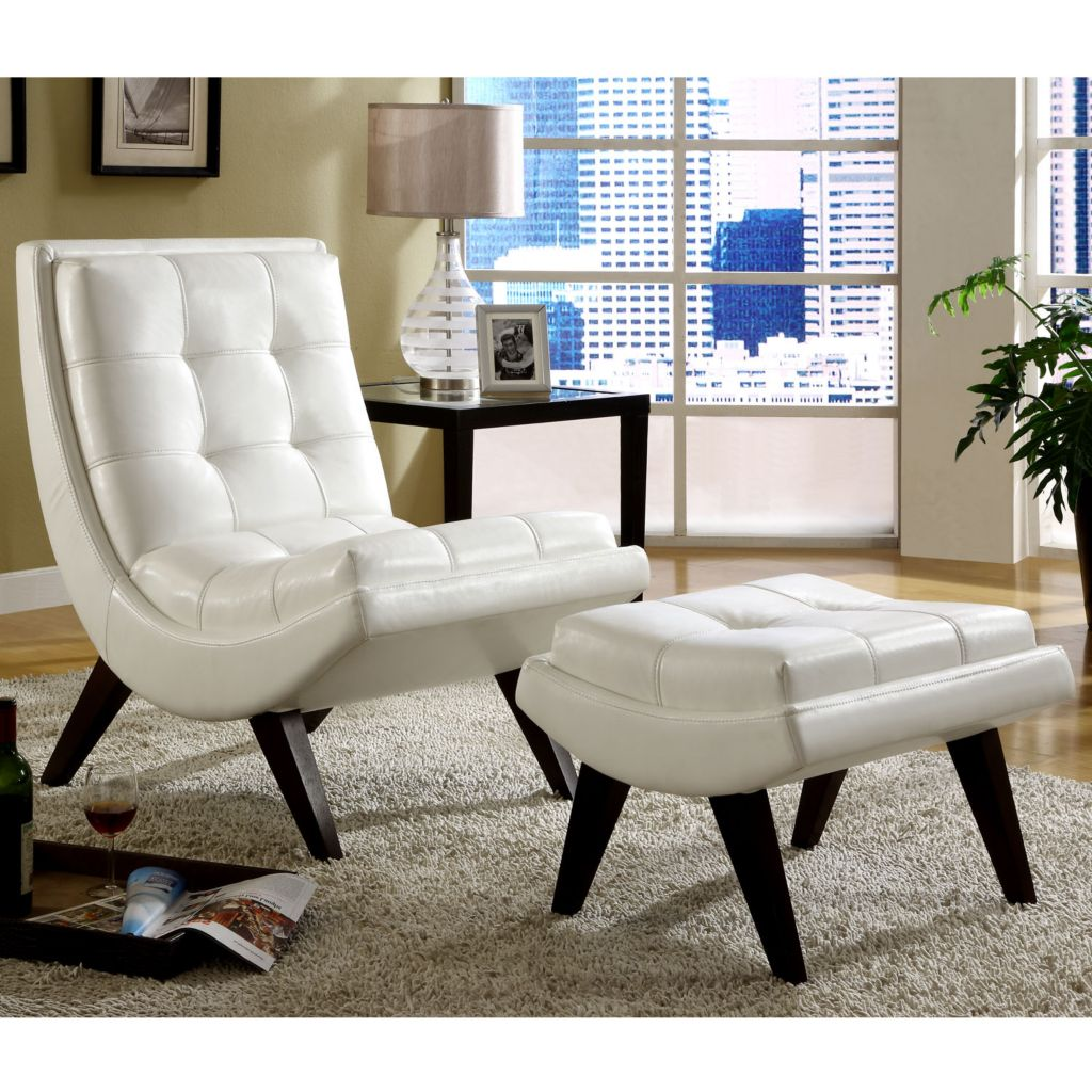 419-042 - FAUX LEATHER WHITE CHAIR WITH OTTOMAN