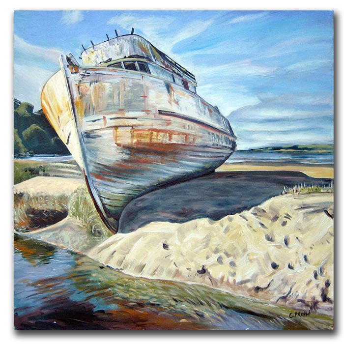 "419-342 - Inverness Boat by Colleen Proppe Reproduction 24"" x 24"" Painting on Canvas"