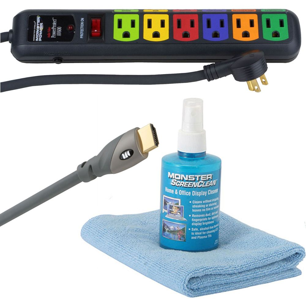 419-627 - Monster HD Starter Kit w/ 8' HDMI Cable, ScreenClean, Cloth & Power Strip