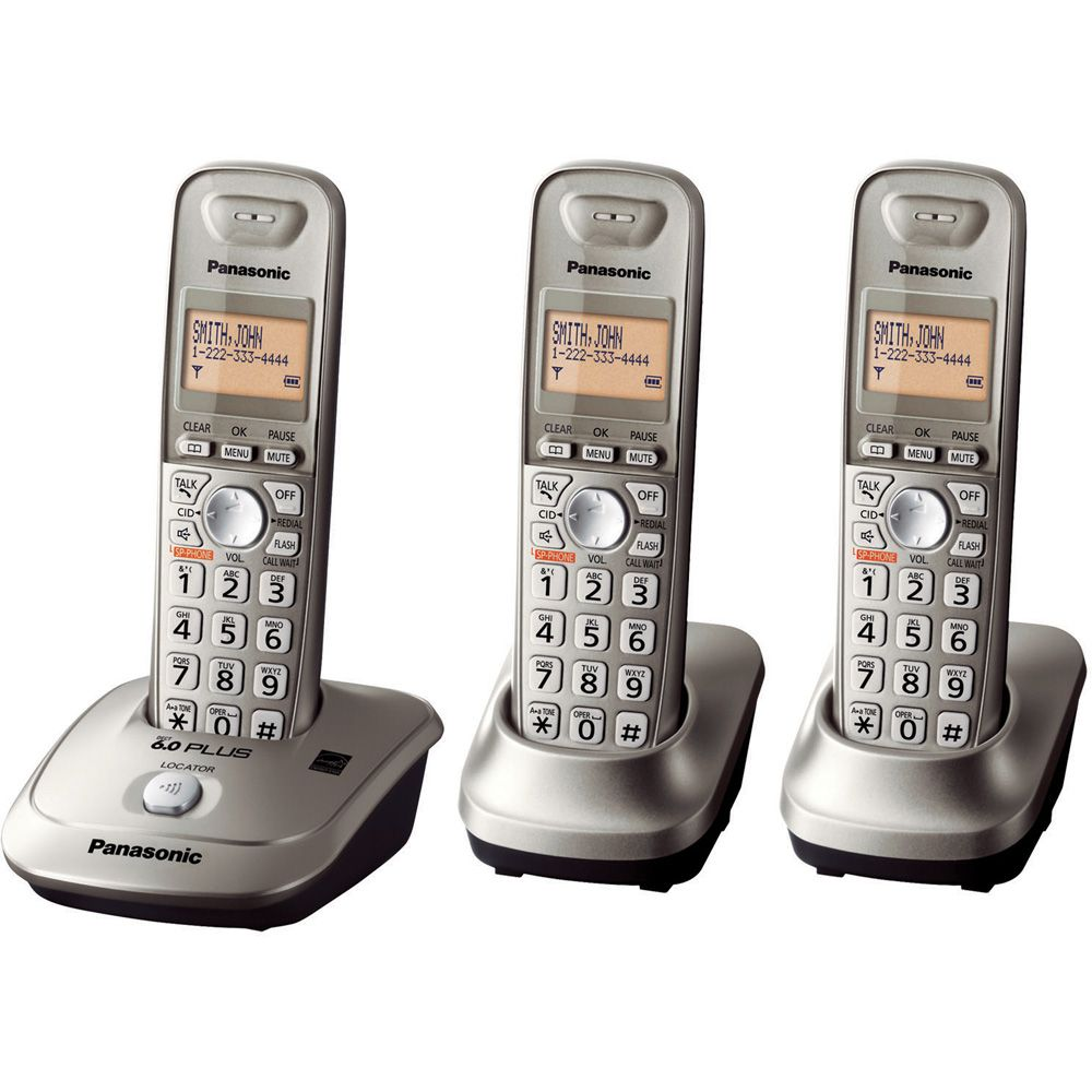 419-771 - Panasonic TG4013N DECT 6.0 Plus 1.9 GHZ Expandable Set-of-Three Digital Cordless Telephones
