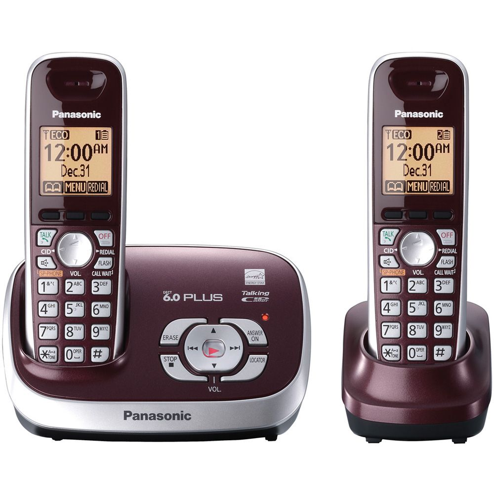 419-819 - Panasonic KX-TG6572R DECT 6.0 Plus Expandable Set-of-Two Digital Cordless Telephones