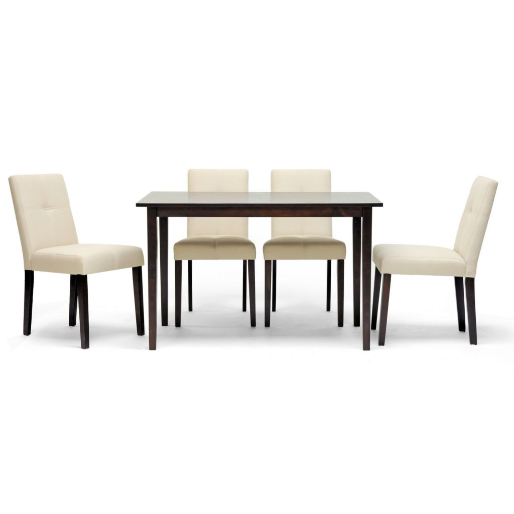 420-488 - Baxton Studio Elsa Brown Wood Five-Piece Modern Dining Set