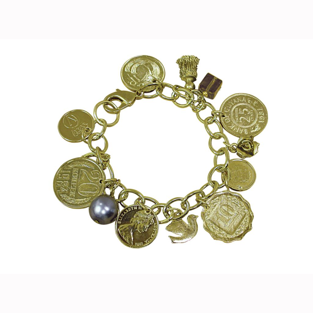 "420-740 - Gold-tone 8"" International Coins Charm Oval Links Bracelet"