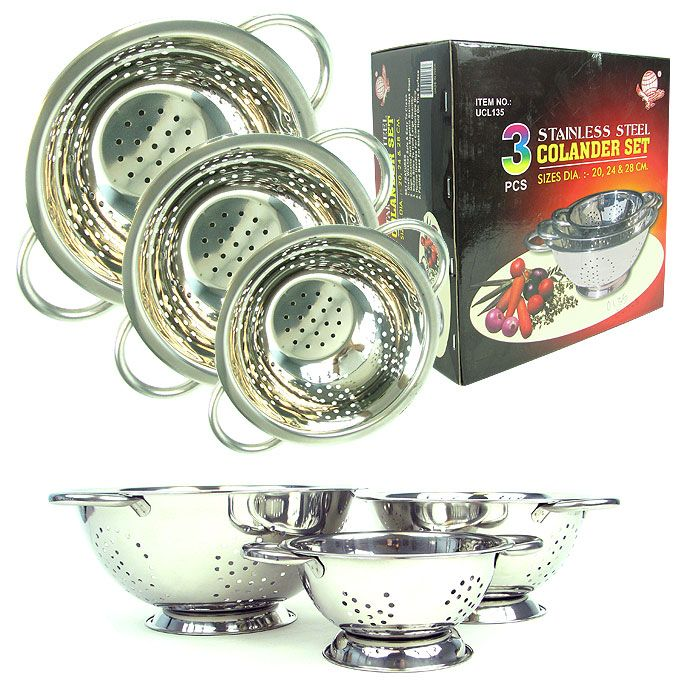 421-062 - Chef Buddy Colanders Three-Piece Stainless Steel Strainer Set