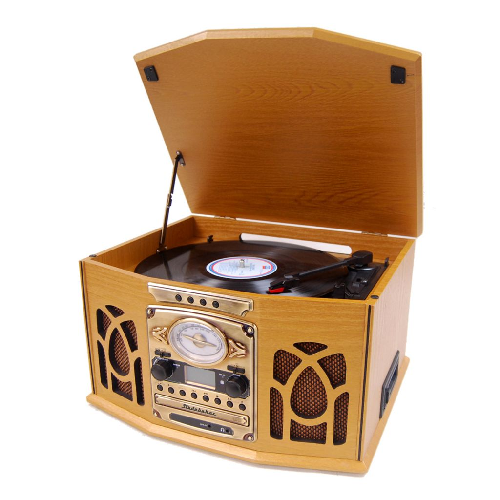 421-948 - Studebaker Nostalgic Wooden Turntable, CD & Cassette & AM /FM Stereo Radio