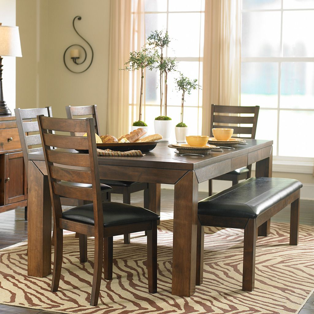 423-043 - HomeBasica Dark Brown Dining Chair, Bench & Table Six-Piece Set
