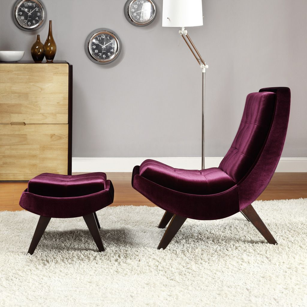 423-046 - HomeBasica Violet Velvet Chair & Ottoman Set