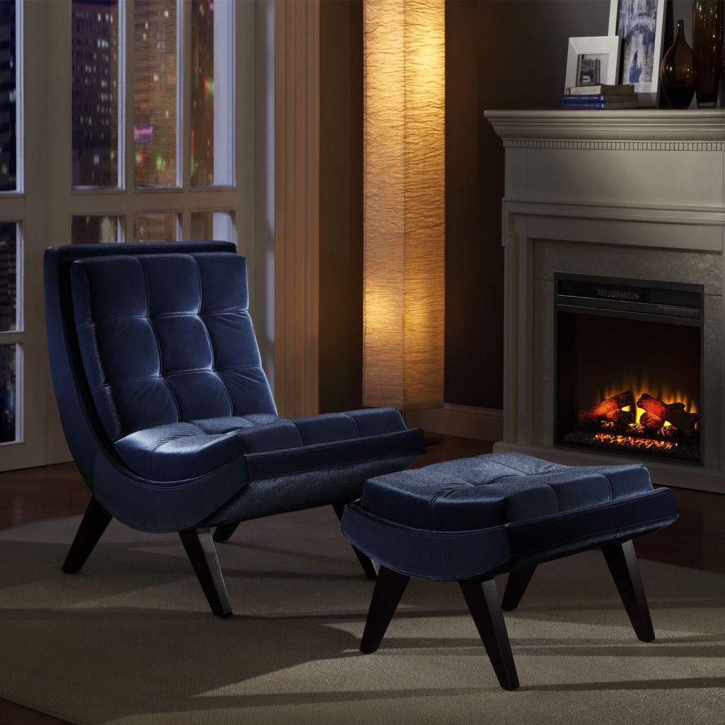 423-047 - HomeBasica Midnight Blue Velvet Chair & Ottoman Set