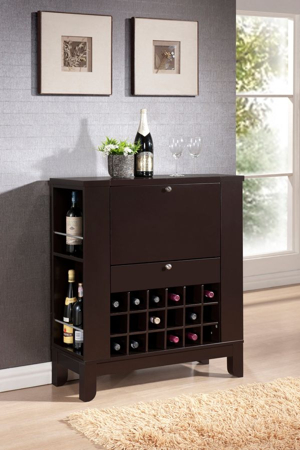 423-110 - Baxton Studio Modesto Brown Modern Dry Bar & Wine Cabinet