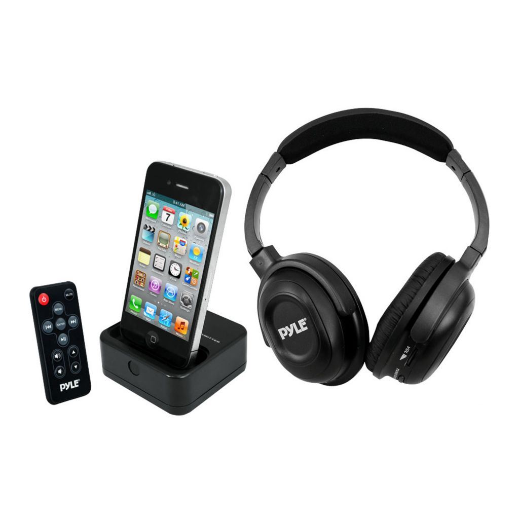 423-422 -  Pyle PIH30R UHF Wireless Stereo Headphones w/ iPhone/iPod Dock Transmitter & Aux Input