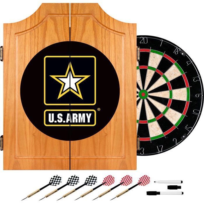 423-565 - U.S. Army & Military Wood Dart Cabinet Set