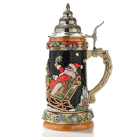 429-180 - KING-WERK™ ''Santa & Reindeer over Alpine Landscape'' Stoneware Stein