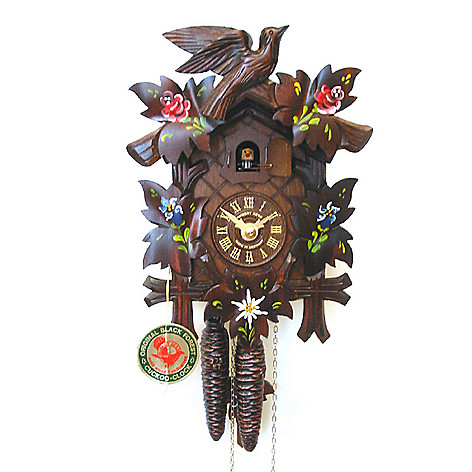 429-189 - Hubert Herr Alpine Flowers One-Day Hand Crafted Cuckoo Clock