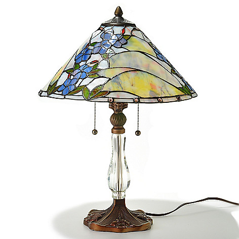 429-591 - Tiffany-Style 23'' Saffron Floral Stained Glass Table Lamp w/ Crystal Base