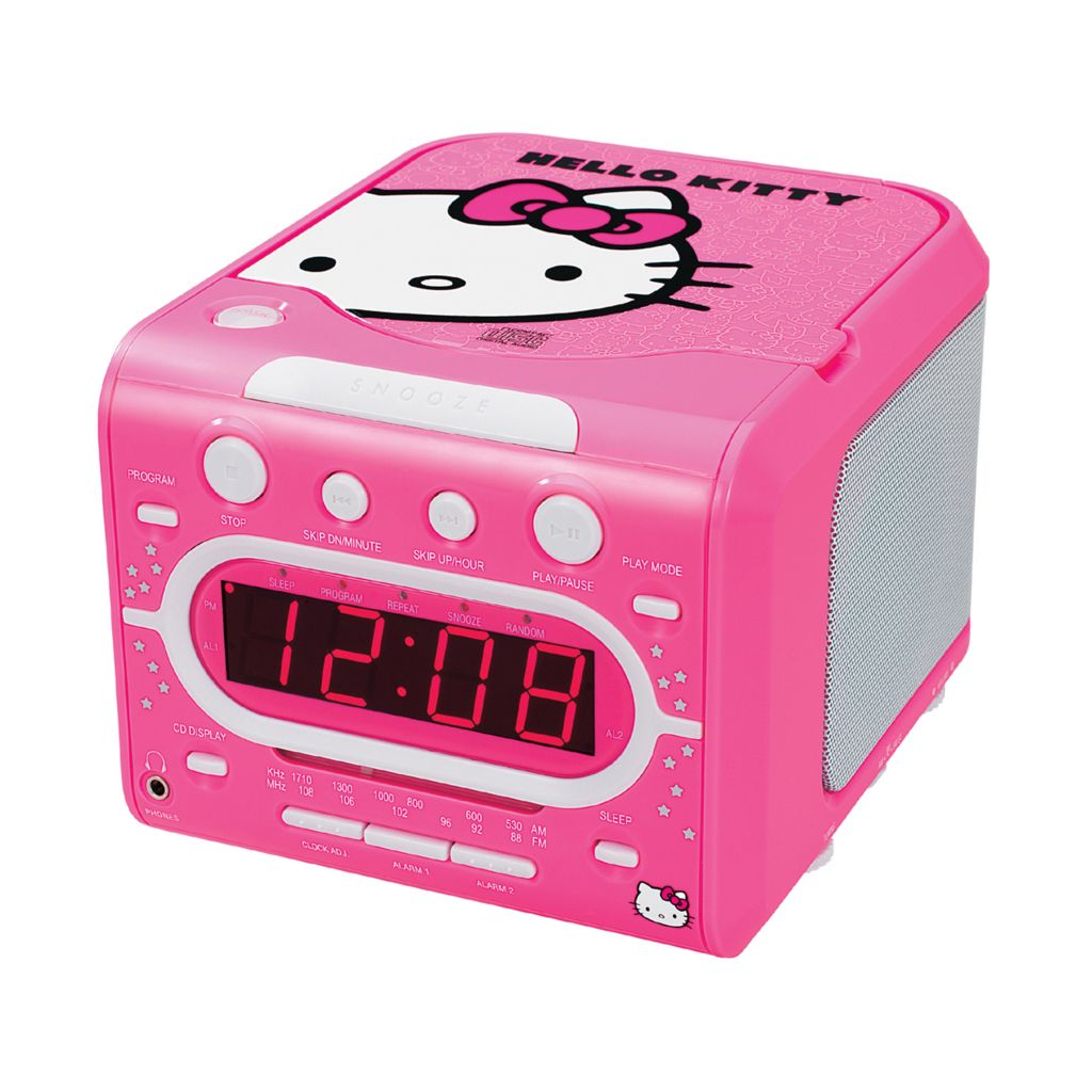 429-819 - Hello Kitty® AM/FM Stereo Alarm Clock Radio & Top Loading CD Player