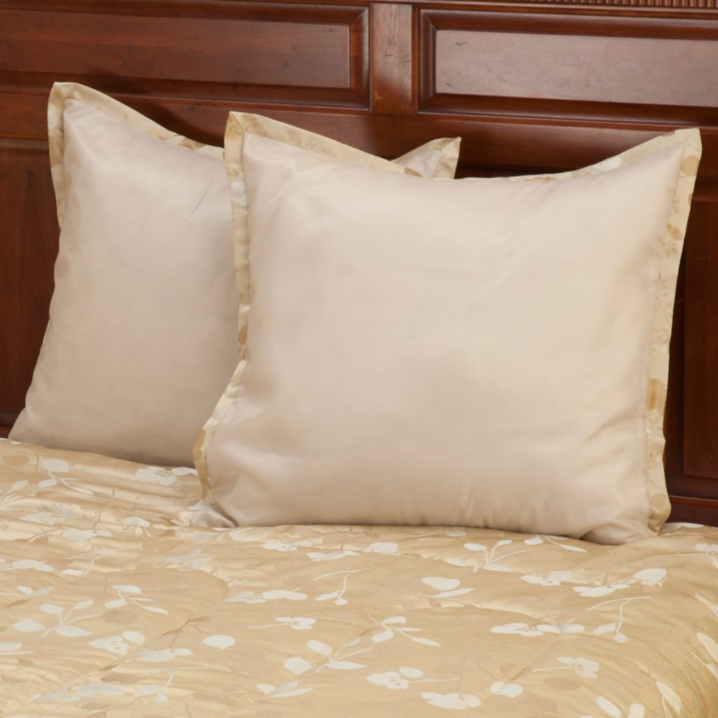 "429-887 - North Shore Linens™ ""Tonal Leaf"" Euro Sham Pair"
