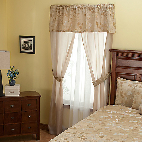 429-889 - North Shore Linens™ ''Tonal Leaf'' Three-Piece Window Set