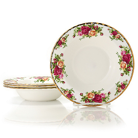 429-902 - Royal Albert® Old Country Roses Set of Four 8'' Bone China Rim Soup Bowls