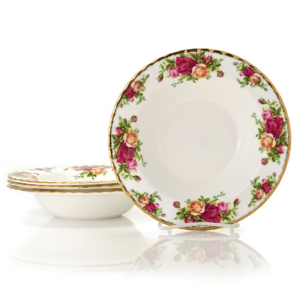 "429-902 - Royal Albert® Old Country Roses Set of Four 8"" Bone China Rim Soup Bowls"