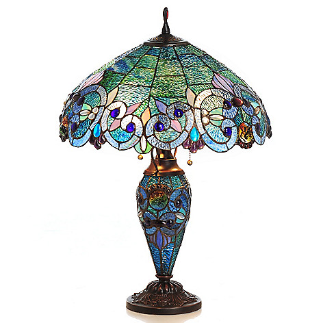430-028 - Tiffany-Style 26'' Corrista Double Lit Stained Glass Table Lamp