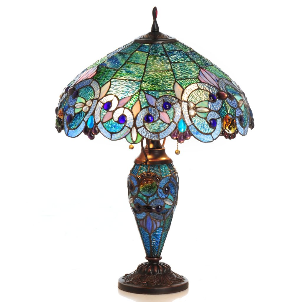 "430-028 - Tiffany-Style 26"" Corrista Double Lit Stained Glass Table Lamp"