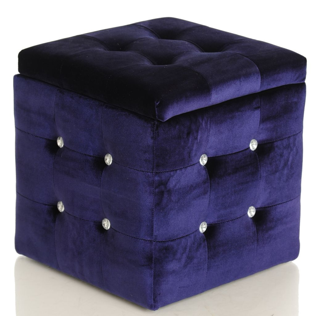 "430-177 - Style at Home with Margie 15.75"" Jeweled Storage Ottoman"
