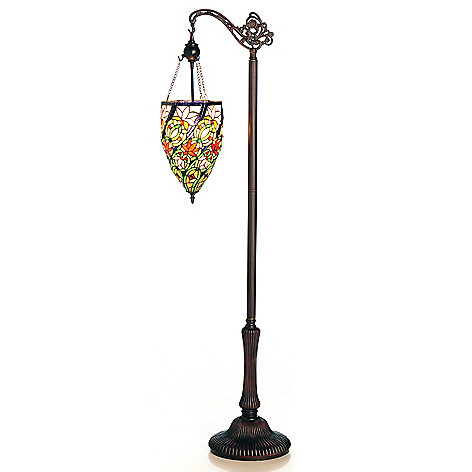 430-263 - Tiffany-Style 59'' Swirling Pendulum Stained Glass Side-Arm Floor Lamp