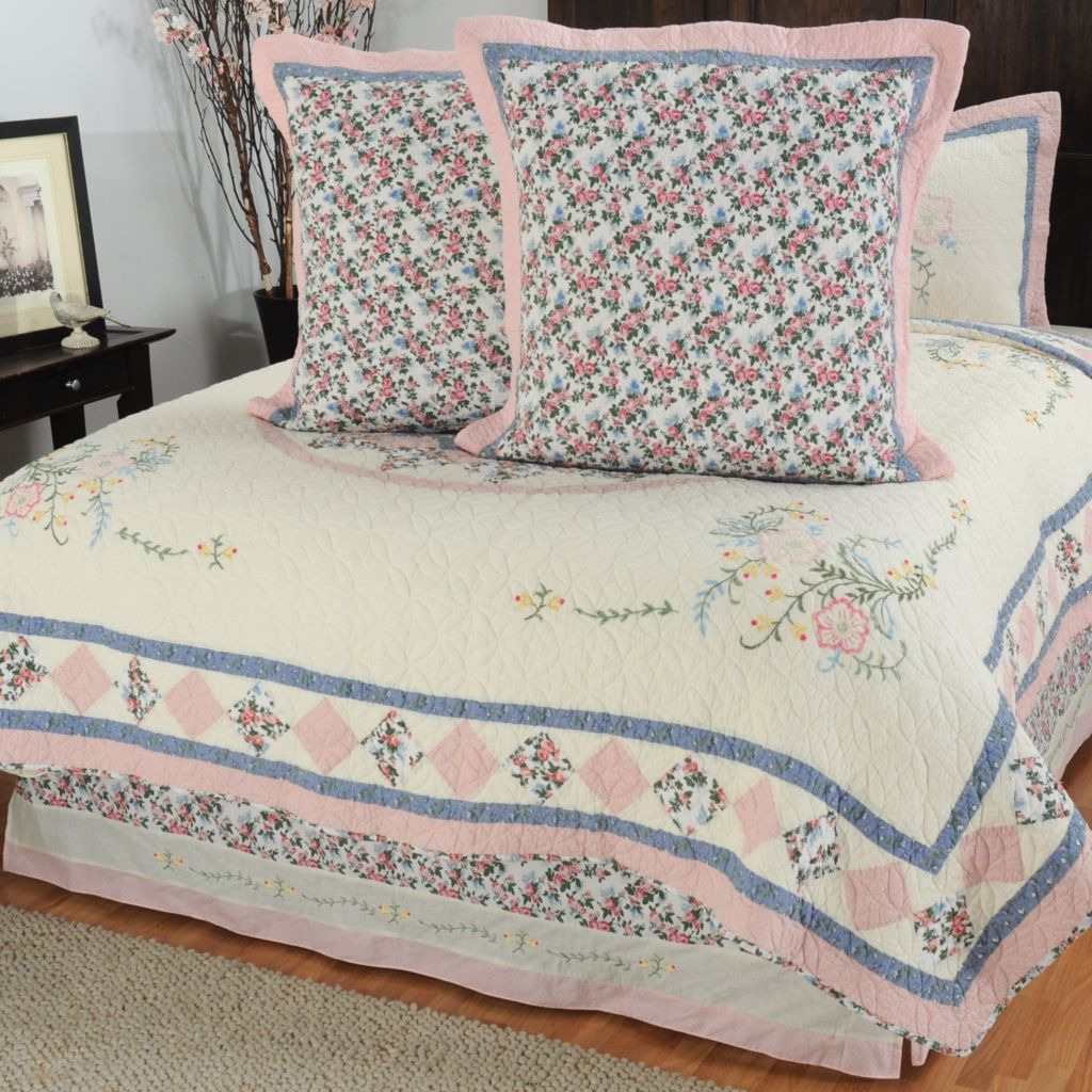 "430-322 - North Shore™ Collectible Quilts ""Josie"" Euro Sham Pair & Bed Skirt Set"