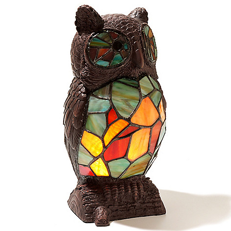 430-453 - Tiffany-Style 9.5'' The Hootster Stained Glass Accent Lamp