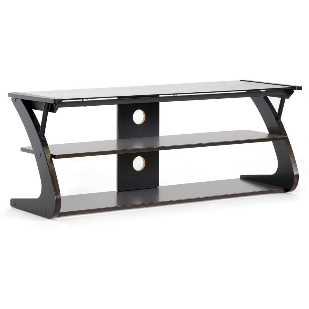 430-569 - Sculpten Dark Brown & Black Modern TV Stand w/ Glass Shelves