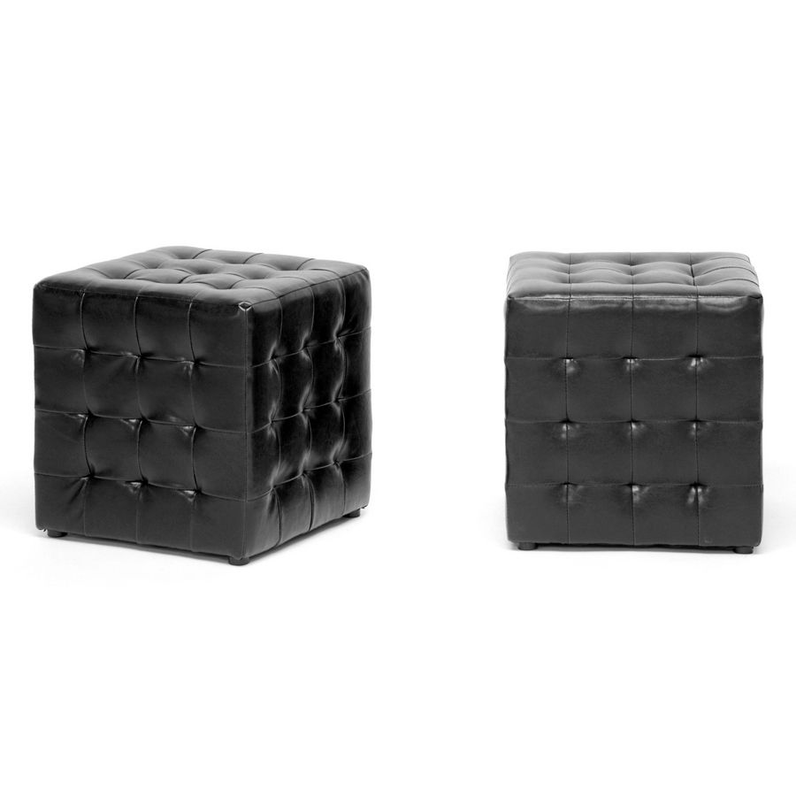 430-575 - Baxton Studio Siskal Set-of-Two Modern Cube Ottomans
