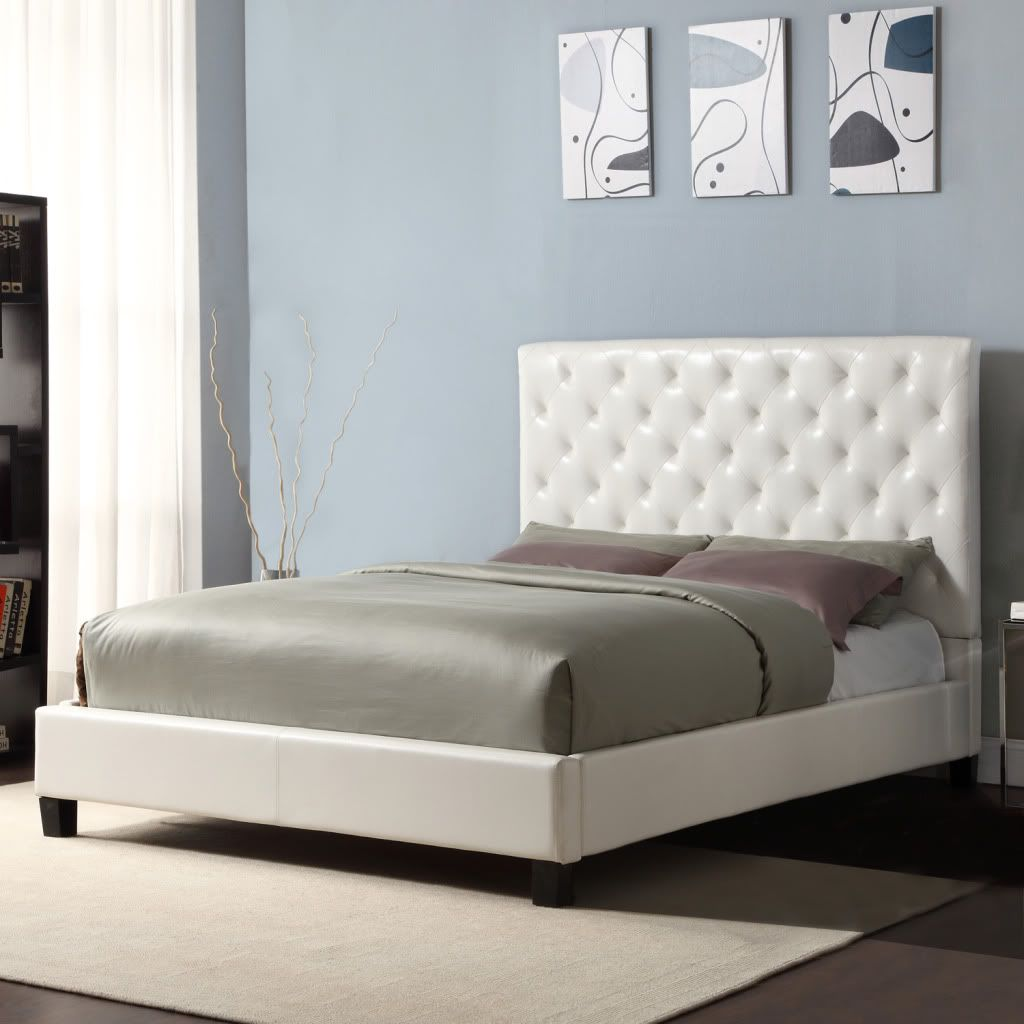 430-762 - Homebasica Tufted Faux Leather Platform Bed