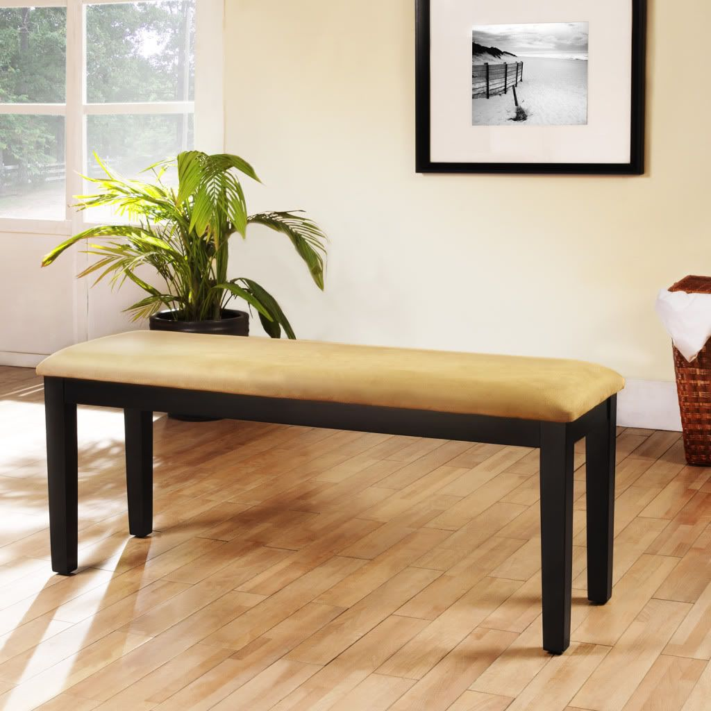 430-765 - Homebasica Black Bench with vinyl cushion