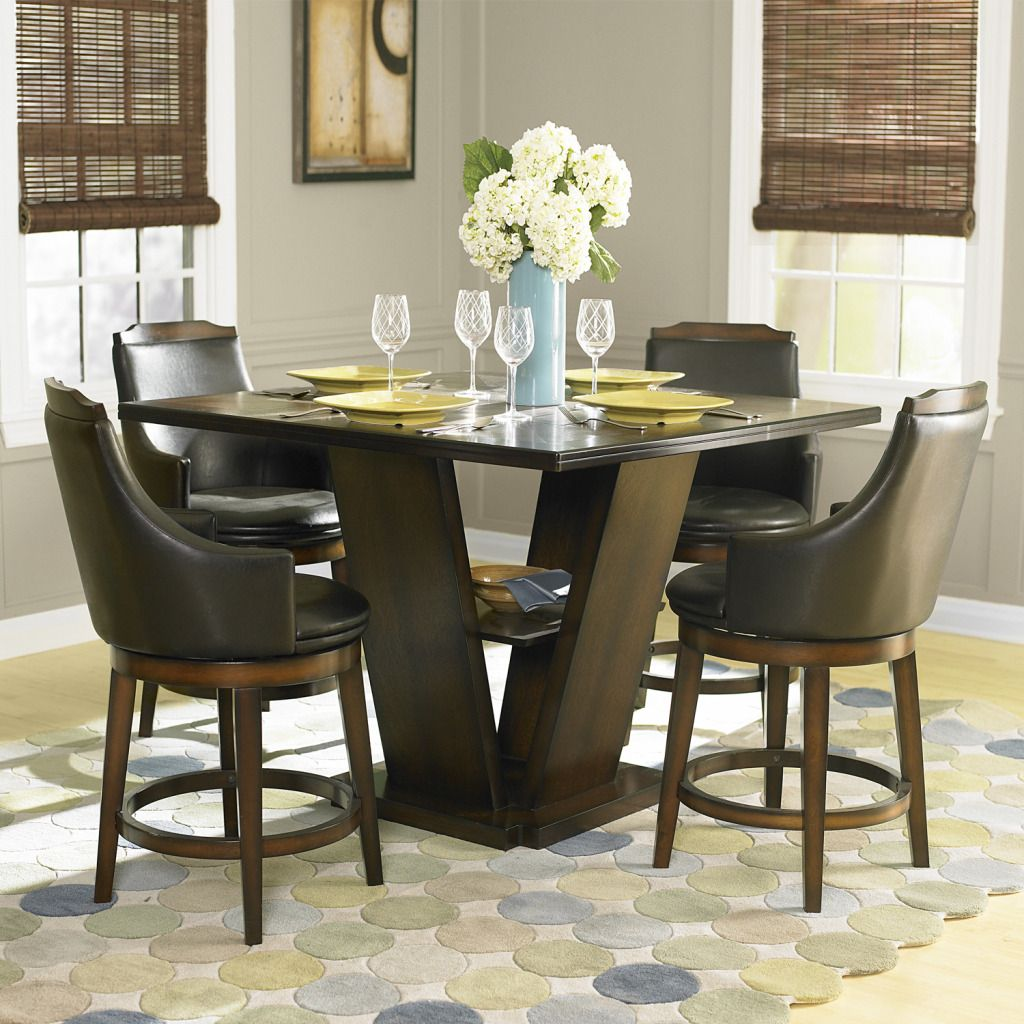 430-784 - Homebasica 5 Piece Counter Height Dining Set w/ Swivel Chairs