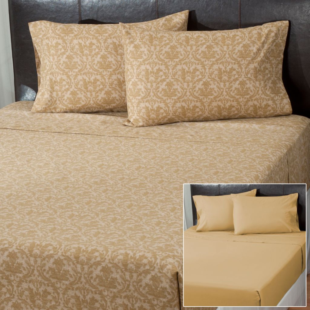 431-022 - Cozelle® Set of Two Microfiber Damask Four-Piece Sheet Sets
