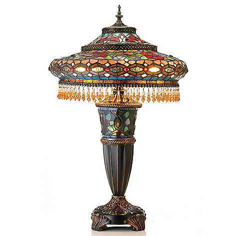 431-065 - Tiffany-Style 27.5'' Parisian Stained Glass Double-Lit Table Lamp