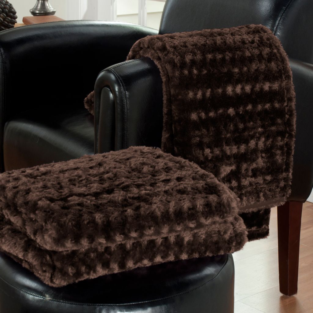 "431-132 - Cozelle® Set of Two 70"" x 50"" Faux Fur Throws"