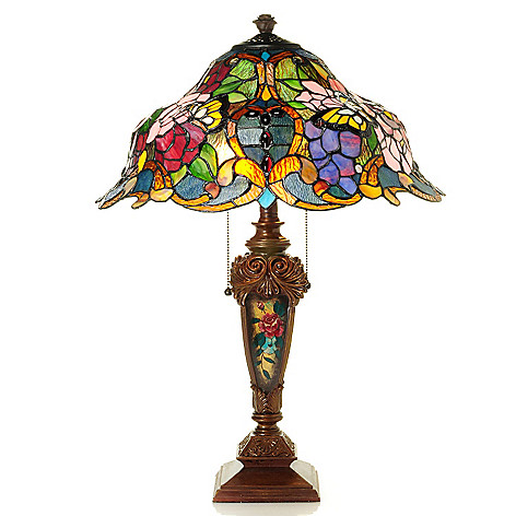 431-197 - Tiffany-Style 26.5'' Tawny Rose Stained Glass Table Lamp