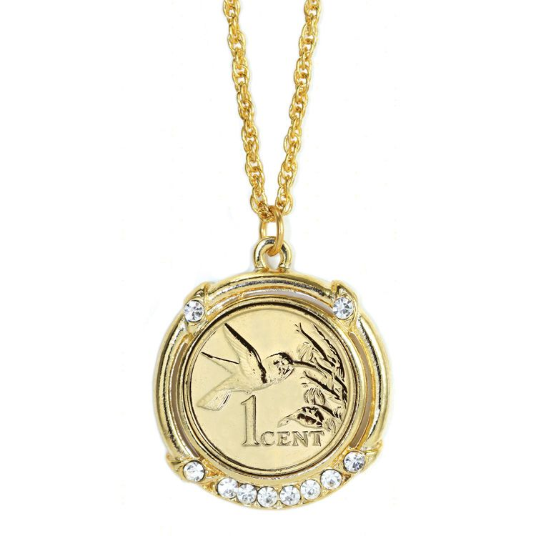 431-250 - 24K Gold Embraced™ Republic of Trinidad and Tobago Hummingbird Coin Pendant w/ Chain